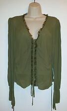 NWT BEBE  Ribbon Lace Top Blouse size M, Olive