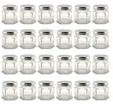 24 Mini Mason Jar Glasses 1.5 Oz, Lavender Lids, Labels, Parties Weddings Craft