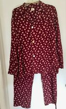 "Vintage ""Manhattan"" 50s men's rayon burgundy red print pajamas 2pc Size M-L"