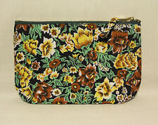 1950's Fifties Fabric Flat Padded Make Up Bag Purse Floral Print & Denim Fifties