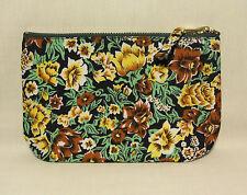 1950's Fifties Fabric Flat Padded Make Up Bag Purse Floral Print & Denim Fifties