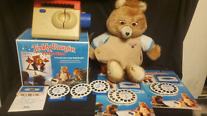 Vintage Teddy Ruxpin Doll Picture Show With 6 Cassettes & 5 Reels 1985 1989 WOW