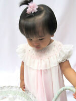 NWT Will'beth Cream Pink Sheer Smocked Bishop Lace Dress 3 Months 3M Baby Girls