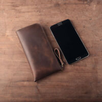 Crazy Horse Leather Mens Wallet Vintage Long Zipper Coin Purse Mobile Phone Bags