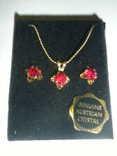 Vintage Red Ruby-like Necklace and Earring Set Gold Tone 18 inch Wheat Chain NEW