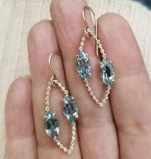 Blue Marquise Yellow Gold Plated Dangle Women Earrings In 925 Sterling Silver