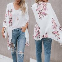 Womens Chiffon Floral Print Kimono Cardigan Top Cover Up Blouse Beachwear