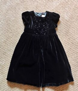 Gymboree Dress Black Velvet Beads Embroidery Party Silk Blend Special Girls Sz 4