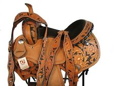 15 16 SHOW SILVER STUDDED BARREL RACING TRAIL PLEASURE LEATHER WESTERN SADDLE