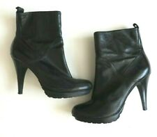 Guess Women`s Heel Boots Black Leather Size 6.5/40