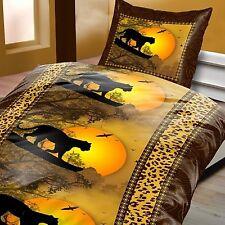 Bettwäsche 135 x 200 cm 2 tlg Leopard Braun Garnitur Normalgröße >>>AKTION<<<