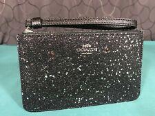Coach Star Glitter Black Zip Wristlet Wallet