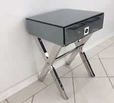 MERLINO CALLY SIDE TABLE WITH DRAWER IN SMOKE GREY MIRROR. NEW IN BOX. RRP $599