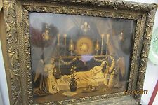 ANTIQUE FRAMED PRINT VICTORIAN DEATH SCENE WITH ANGELS