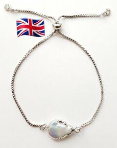Freshwater Coin Pearl Slider Adjustable Bracelet