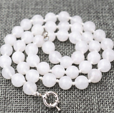 """10MM Real Natural White Jade Round Beads Hand Knotted Necklace 18"""" AAA"""
