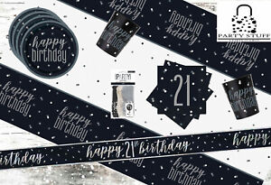 Black Silver 21st Birthday Party Supplies Tableware & Decorations Glitz Age 21