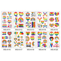 10 Sheets Rainbow Tattoo Sticker Same-sex Rainbow Tattoo Pastes Homosexual Tempo