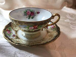 Chubu China porcelain cup & saucer Occupied Japan Raised Gold Pattern Beautiful