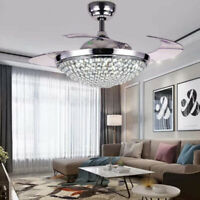 """42"""" Retractable Ceiling Fans with Lights Modern Crystal Remote Chandelier Lamps"""