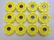 *SALE* 12 NEW Flo Yellow IDS Pro Shot Roller Inline Hockey Pucks Fast Shipping!