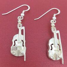 Violin Earrings Sterling Silver Stunning New 3D Solid 925 dangle drop jewellery