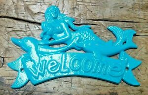 Cast Iron MERMAID WELCOME Plaque DOLPHIN Sign Nautical Wall Decor TURQUOISE