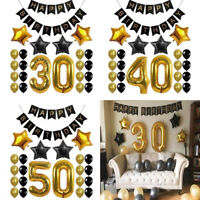 30th 40th 50th Happy Birthday Banner Giant  Balloons Set Anniversary Party Decor