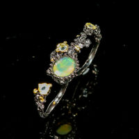 Natural Opal 925 Sterling Silver Ring Size 8/RR17-1596