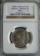 1888-A German Prussia -Friedrich-III 2 Mark NGC PF-63