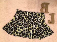 Justice Animal Print Leopard Black Yellow White Girls Skorts Skirt Size 7
