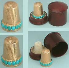 Antique 15 Kt Gold & Turquoise Thimble in Case * English * Circa 1850