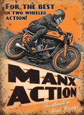 New 15x20cm Isle of Man Norton racing Manx Action retro metal advertising sign