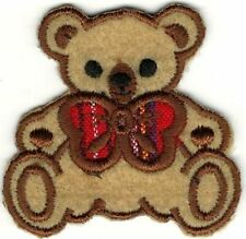 "1.75"" Teddy Bear Plaid Bow Embroidery Patch"