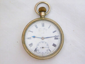 Vintage Swiss Made Double Signed Enamel Dial Nickel Plated Pocket Watch