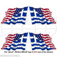 USA United States America-GREECE American & Greek Flying Flag 50mm Stickers x4