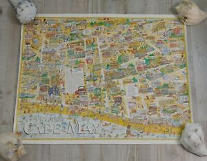 Cape May New Jersey Victorian 22 x 28 Vintage Poster Street Map by Ed King Rare