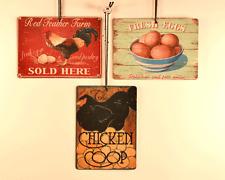 Chicken Theme Signaments, Set of 3 Mini Metal Signs, Fresh Eggs, Hen