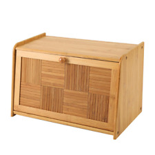 More details for kitchen countertop storage natural bamboo front lid drop down bread bin