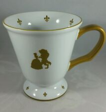 """AUTHENTIC DISNEY PARKS, """"BEAUTY AND THE BEAST""""  MUG, WHITE W/GOLD ACCENTS. MINT"""