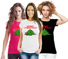 Silly Funny Novelty Xmas Top Dog Peeing Merry Christmas ? Really Ladies T Shirt