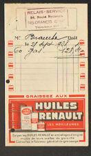 """RIS-ORANGIS (91) POMPE à ESSENCE """"RELAIS-SERVICE"""" Publicité HUILE RENAULT 1938"""