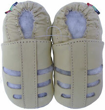 carozoo sandals cream 12-18m soft sole leather baby shoes