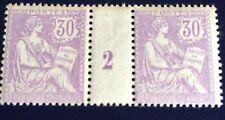 France N°128 30 C Violet Paire Millésime 2 Neuf ** TB Qualité  Choix Côté 2300€