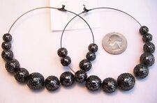 """Beads Hoop Pierced Earrings-3 1/2"""" Basketball Wives Hematite Mesh Covered Pop"""