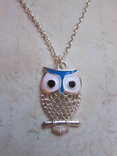 "Vintage Look Silver Plated Blue Owl Bird Necklace 18"" Festival Animal New"
