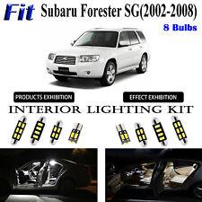 8 Bulbs Xenon White LED Interior Light Kit For Subaru Forester SG 2002-2008 Lamp