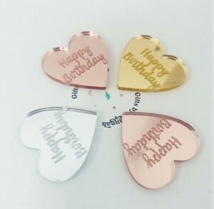 Happy Birthday Heart Gift Tags, Cake Charms, Crafts, Mirror - Silver, Rose, Gold