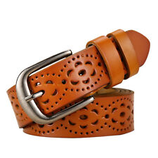 Fashion Women Lady Leather Belt Skinny Pin Buckle Waist Strap Waistband Hollow