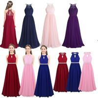 Girls Lace Chiffon Princess Party Dress Pageant Bridesmaid Wedding Formal Gown